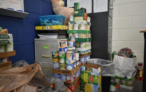 Amanda Sunday's classroom is currently home to many canned food items.  Sunda believes in supporting this community project and motivates all her students to participate.