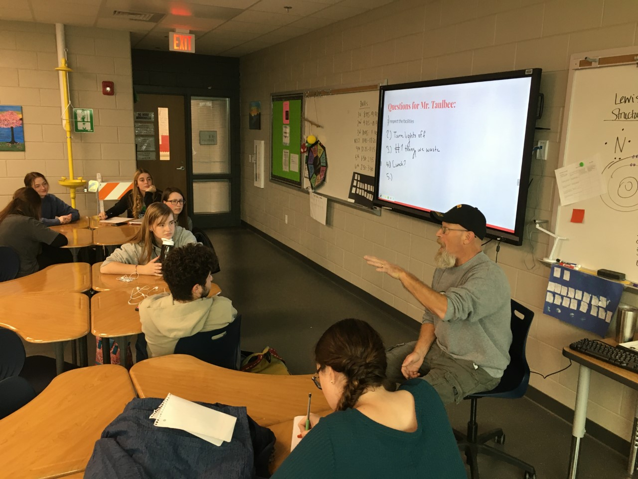 Les Taulbee helps GCHS in a variety of ways, but he enjoys the time he is able to work with students.  He recently met with students on the Energy Team to discuss some ideas about how energy and waste could be reduced at school.